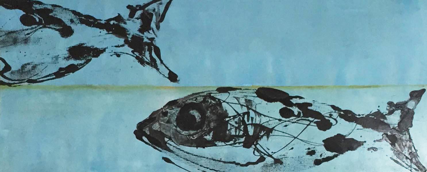 "SOLD | PILGRIM LAKE I, 12"" x 30"", OIL AND ENAMEL ON PANEL"