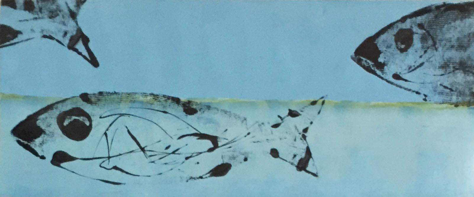 "SOLD| PILGRIM LAKE II, 12"" x 30"", OIL AND ENAMEL ON PANEL"