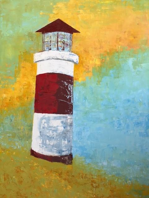 """Harbor Light, 30"""" x 40"""", oil on linen"""