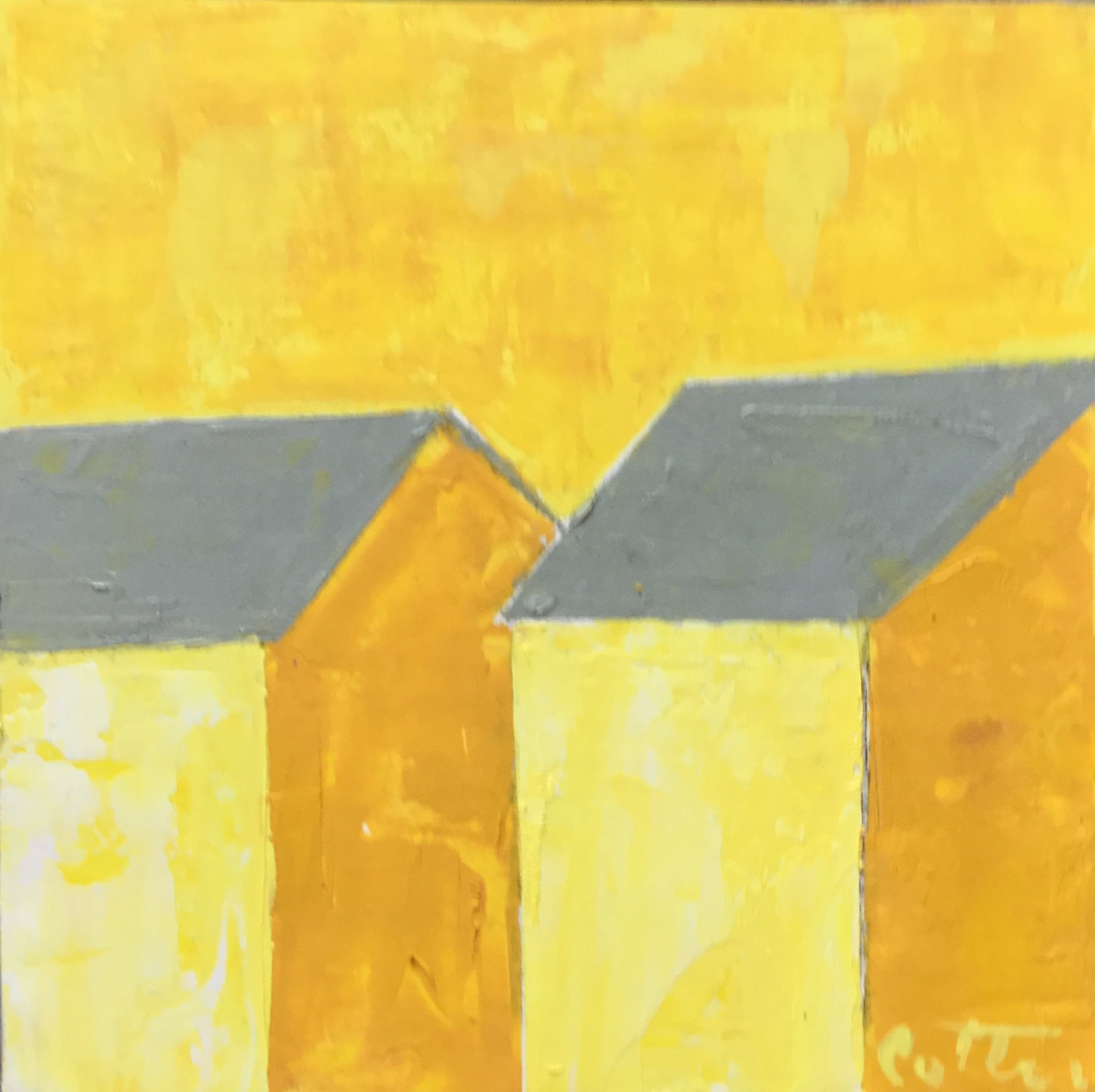 """SOLD, SUMMER COTTAGES, 6"""" x 6"""", OIL ON WOOD PANEL"""