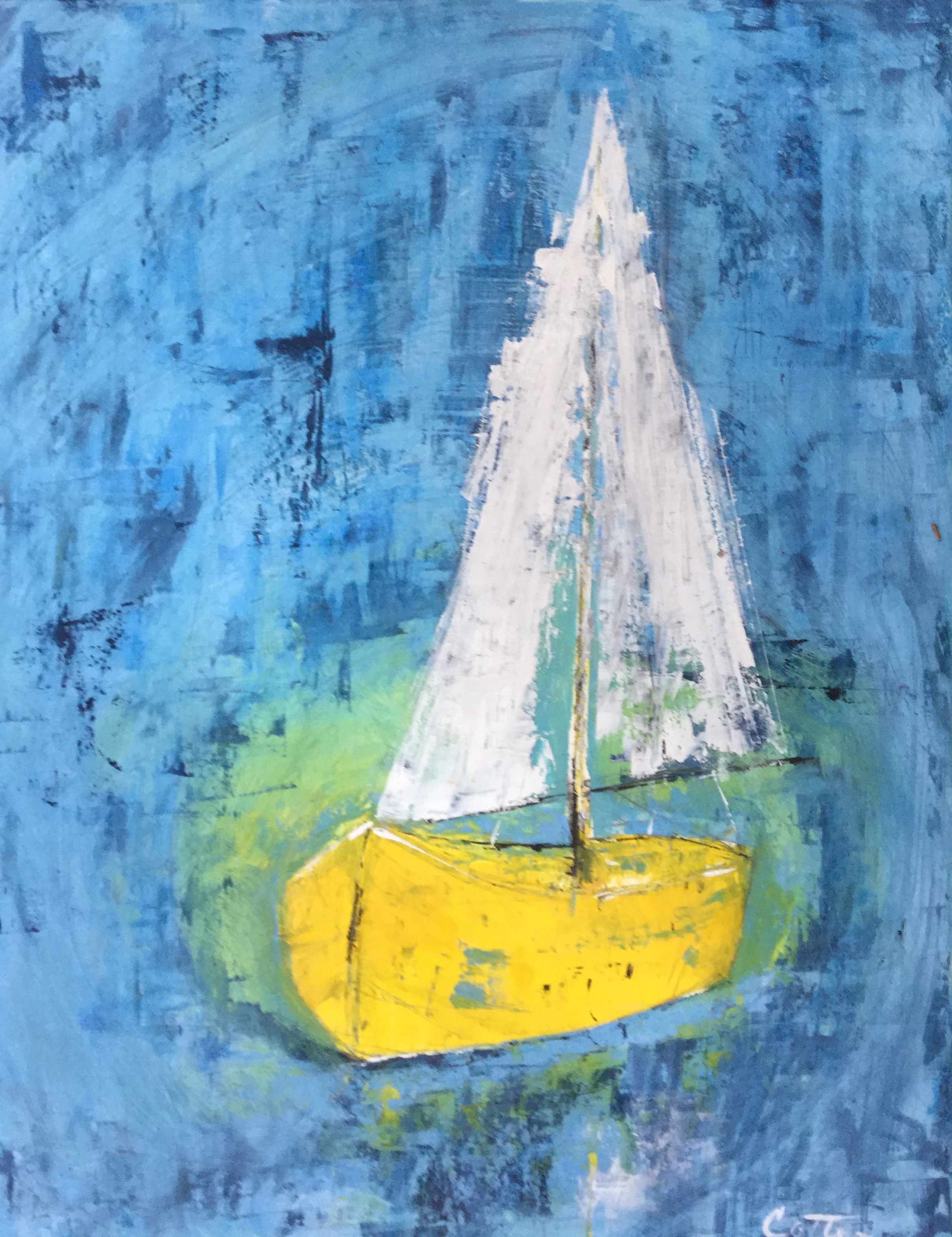 """SOLD, DAY SAIL, 14"""" x 18"""", OIL ON PANEL"""