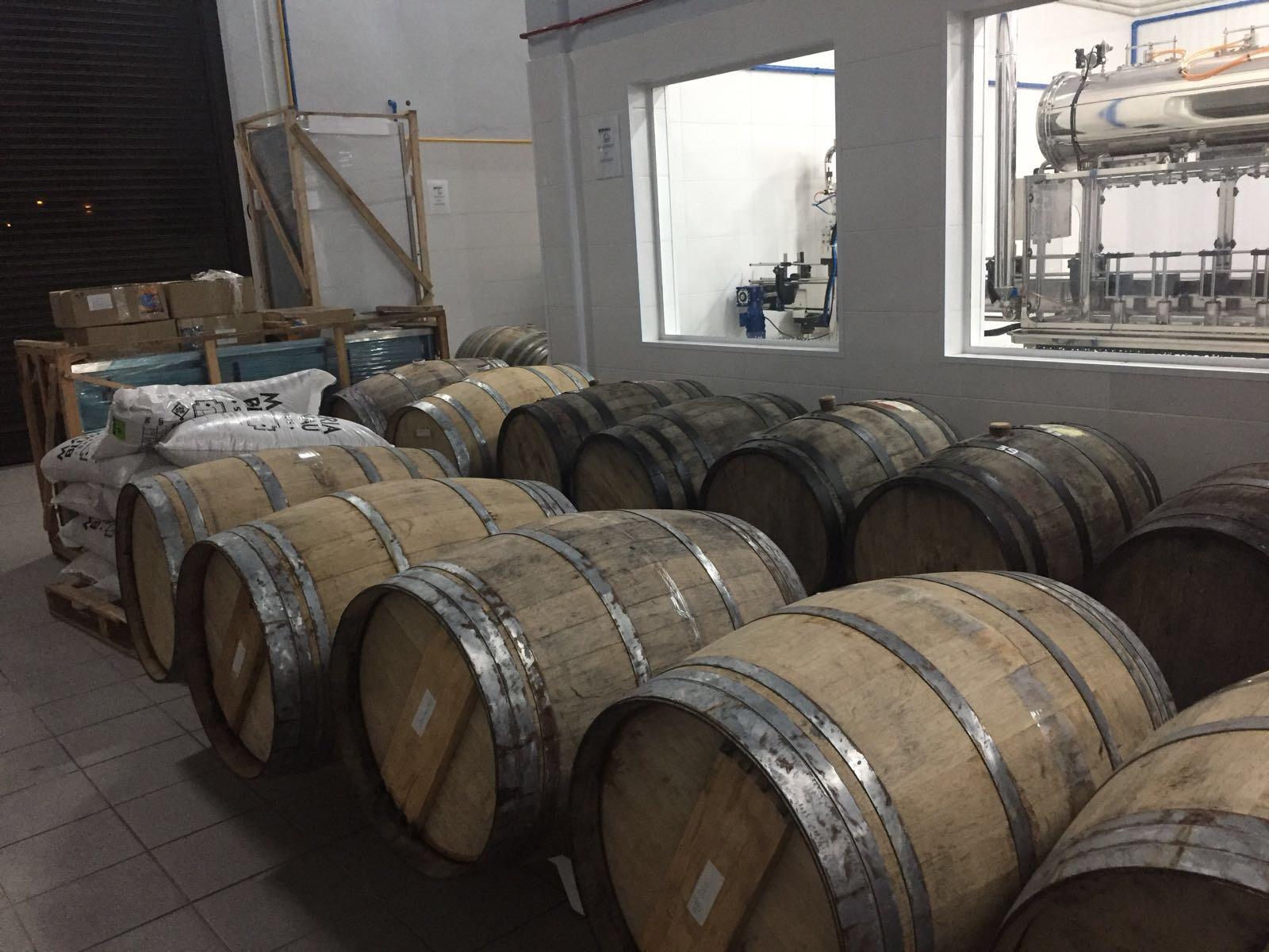 Barrels aging beer