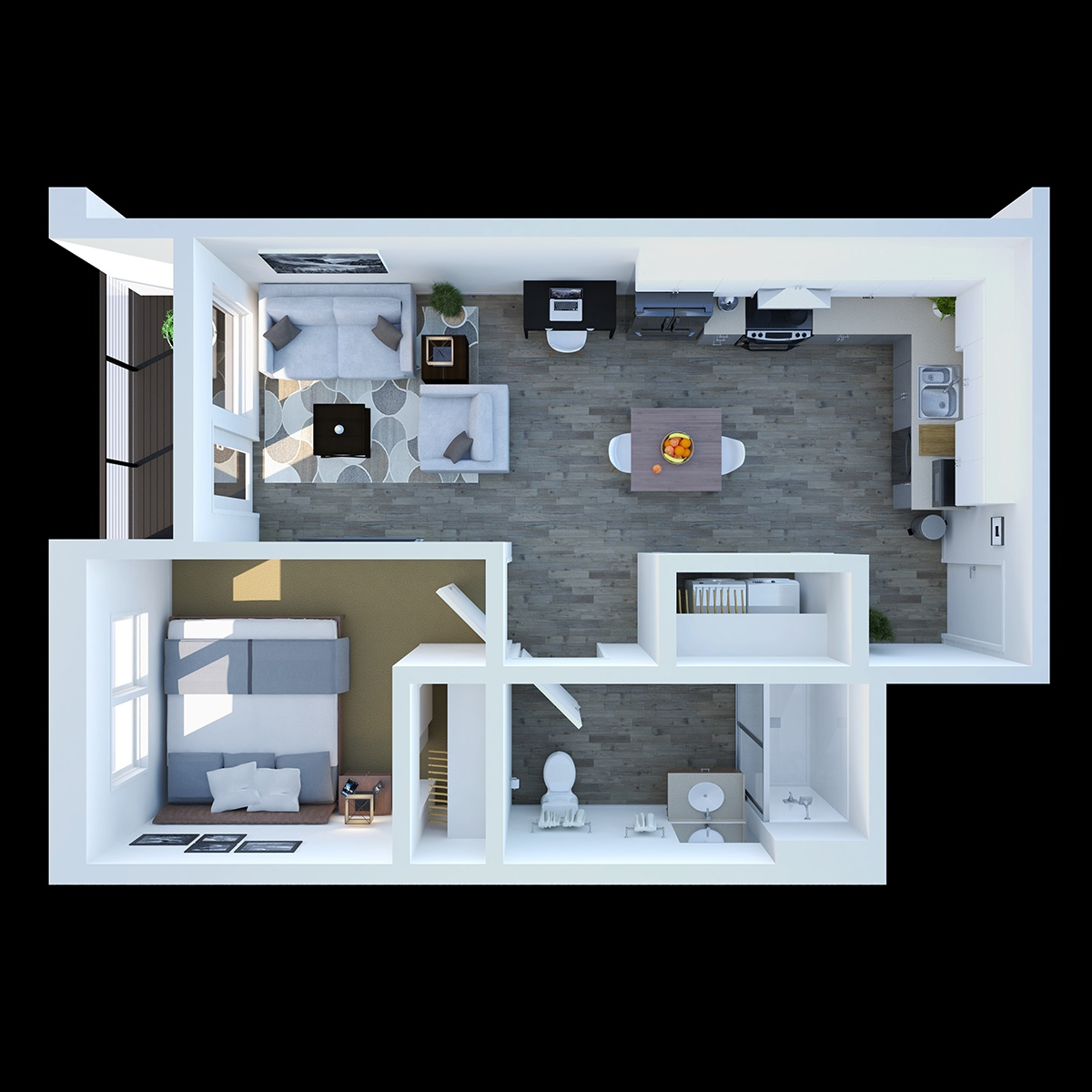 One Bedroom - This is our practical one bedroom, one bathroom floor plan featuring with 642 sq. ft. of living space.
