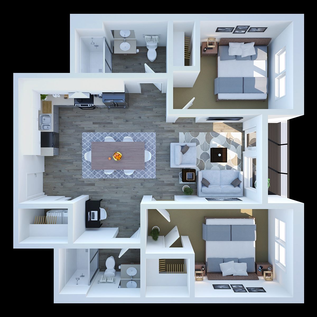 Two Bedroom - This smart design includes two bedrooms, two bathrooms, and 979 sq. ft. of living space.
