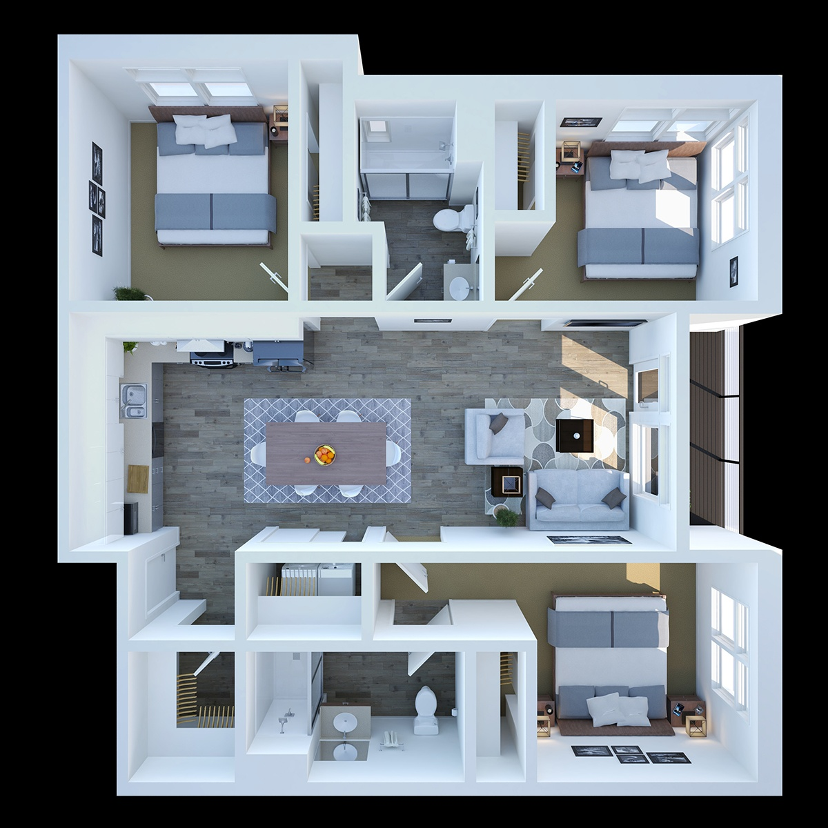 Three Bedroom - This is our legendary three bedroom, two bathroom floor plan featuring with 1,214 sq. ft. of living space.