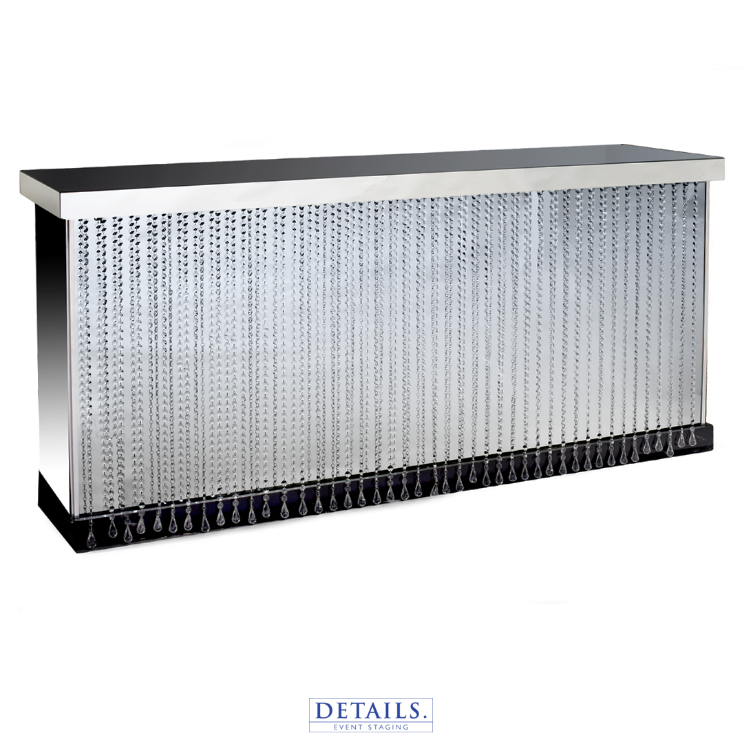 "Crystal Mirrored Bar — 96""W X 28""D X 42""H"
