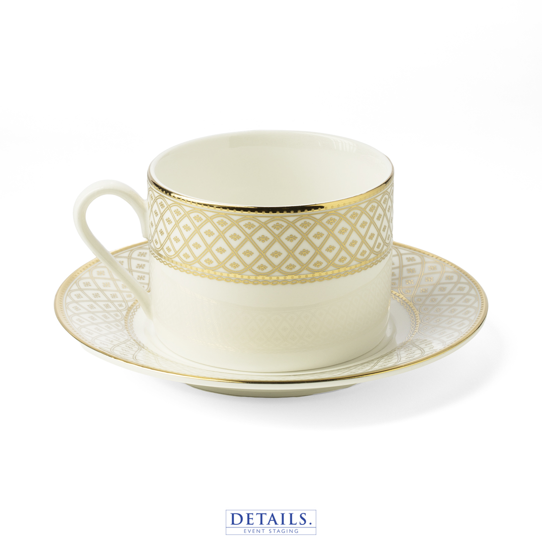 MARCELLA GOLD COFFEE CUP — ALSO AVAILABLE IN SILVER WITH MATCHING PLATES