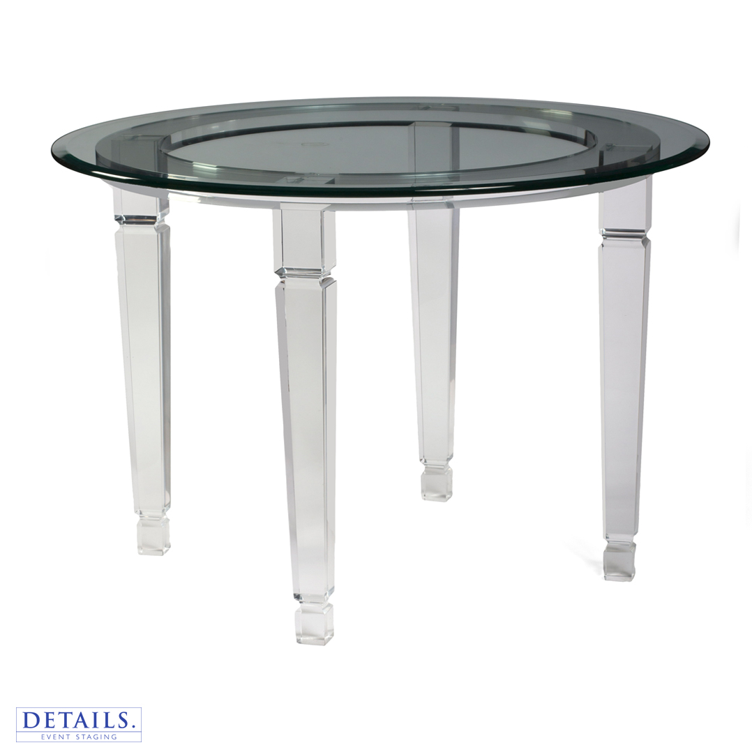 "Round Glass Table — 36"" Diameter"