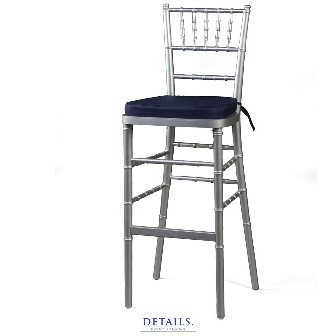 Tall Silver CHIAVARI CHAIR — AVAILABLE WITH IVORY, WHITE, OR NAVY   CUSHIONS