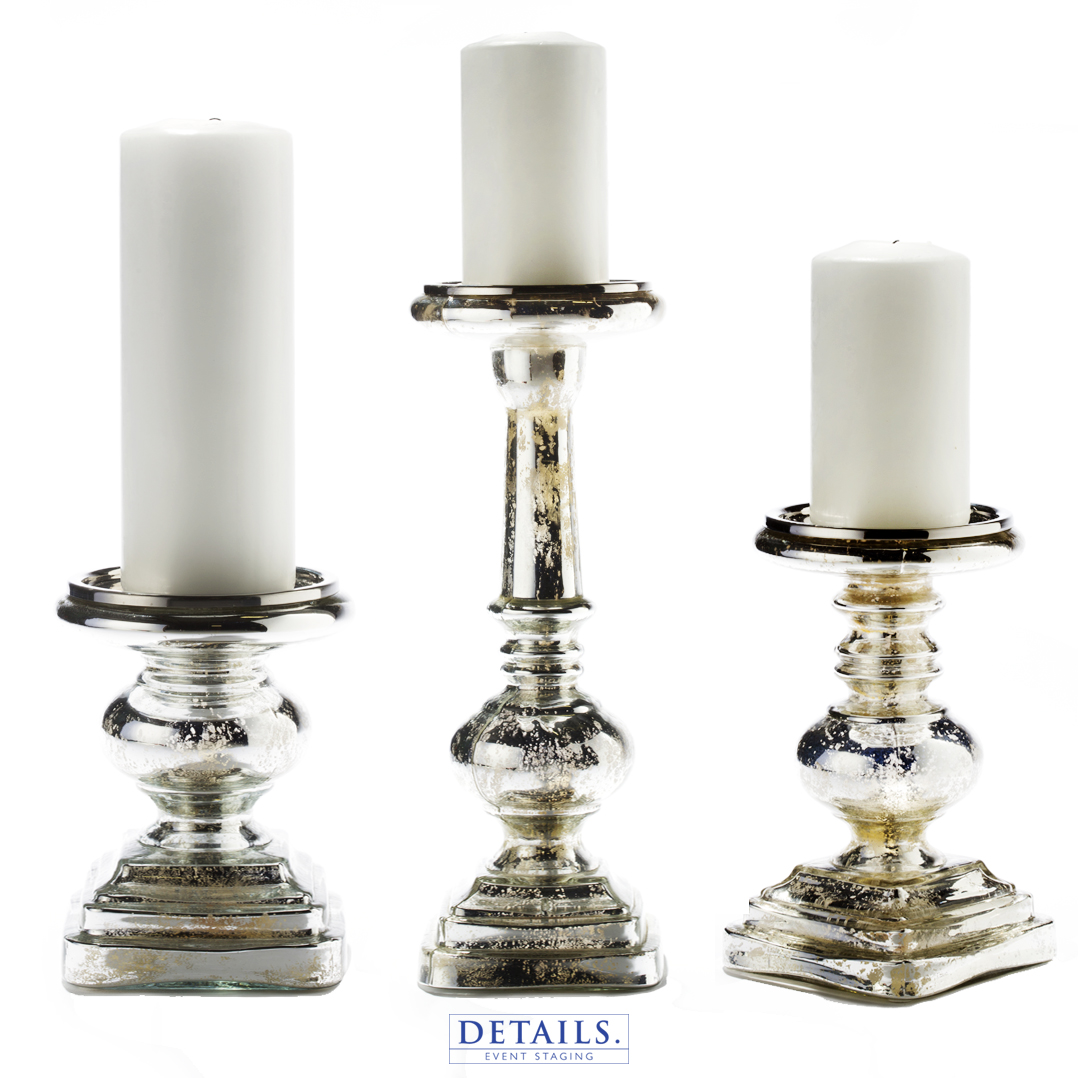 ASSORTED MERCURY GLASS PILLARS (AVAILABLE IN SMALL, MEDIUM, LARGE, AND EXTRA LARGE)
