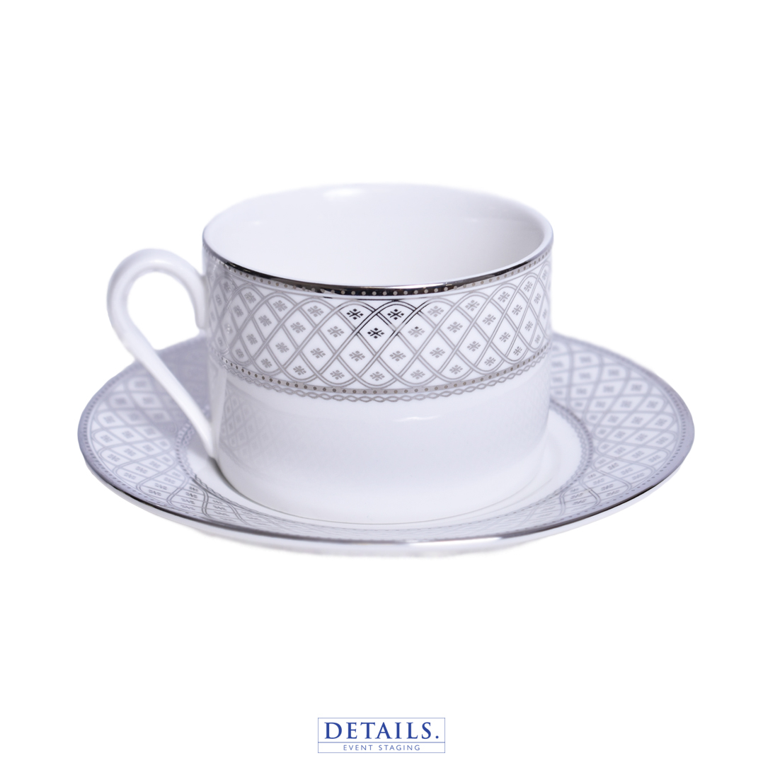 MARCELLA SILVER COFFEE CUP — ALSO AVAILABLE IN GOLD WITH MATCHING PLATES