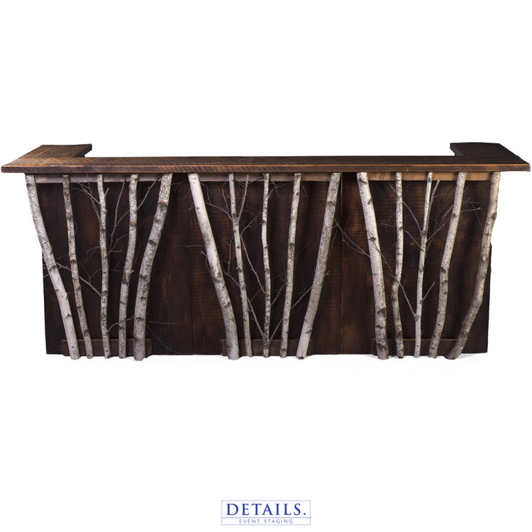 Our rustic barn wood bar shown with optional birch branches to create a more organic aesthetic.