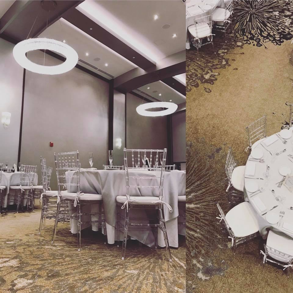 Our  C  rystal Chiavari Chairs with white cushions accentuated the stunning crystal chandeliers and decor throughout the Grand Ballroom at the Westin Hotel in Portland, Maine.