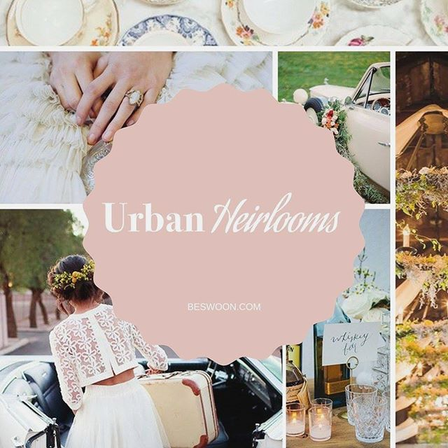 """Urban Heirlooms Room: """"The perfect juxtaposition of an urban setting filled with softer vintage details. The Urban Heirlooms room is complete with food, decor, invitations, rentals, lighting and more. All expertly executed by a wedding planner. Make sure to sit on the furniture, taste the food, enjoy the drinks, and truly experience all of the details."""" Join us at @beswoon on Saturday! 🎉"""