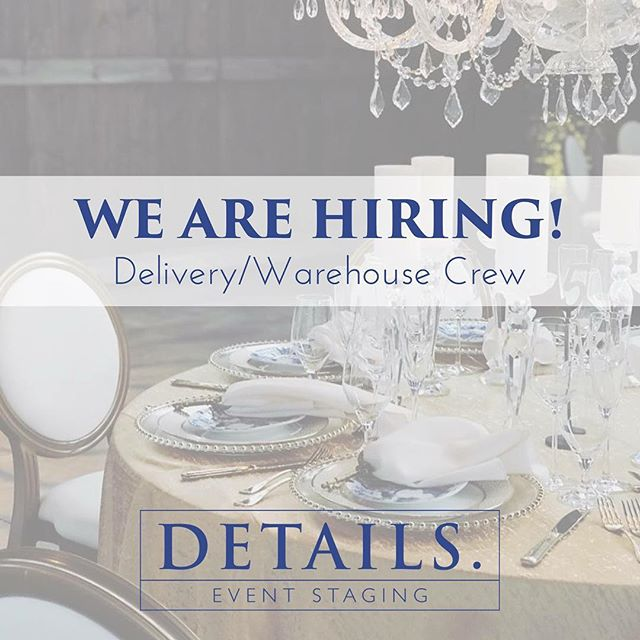 We are hiring summer delivery/warehouse crew members.  No prior experience necessary. We will provide training for the right candidate. Please share with your friends and family!  Interested? Send an email with your interest, availability, and resume to sam@detailseventstaging.com