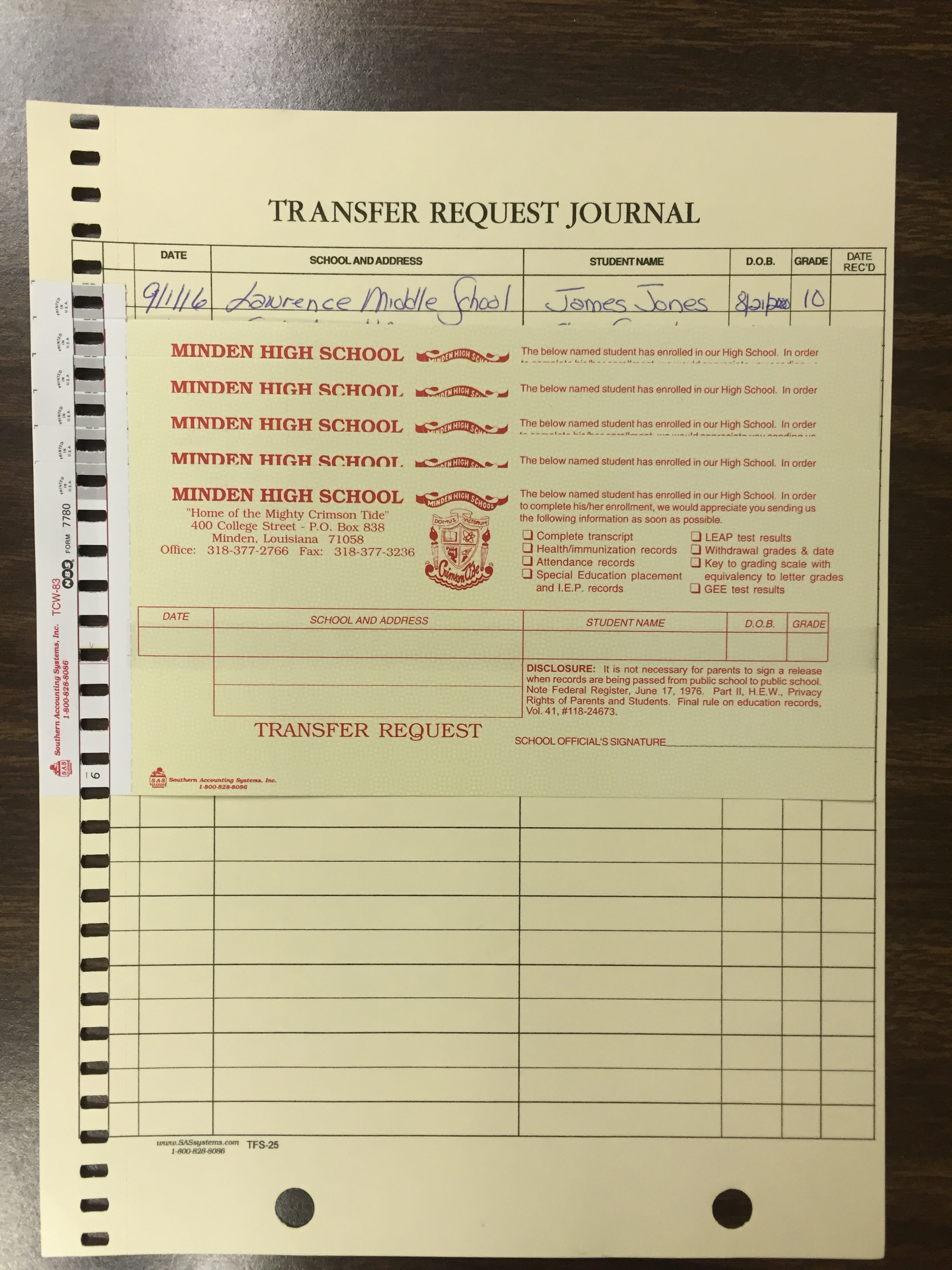 Request (or send) student records, while also creating log of all records requested/sent. click for more info!!