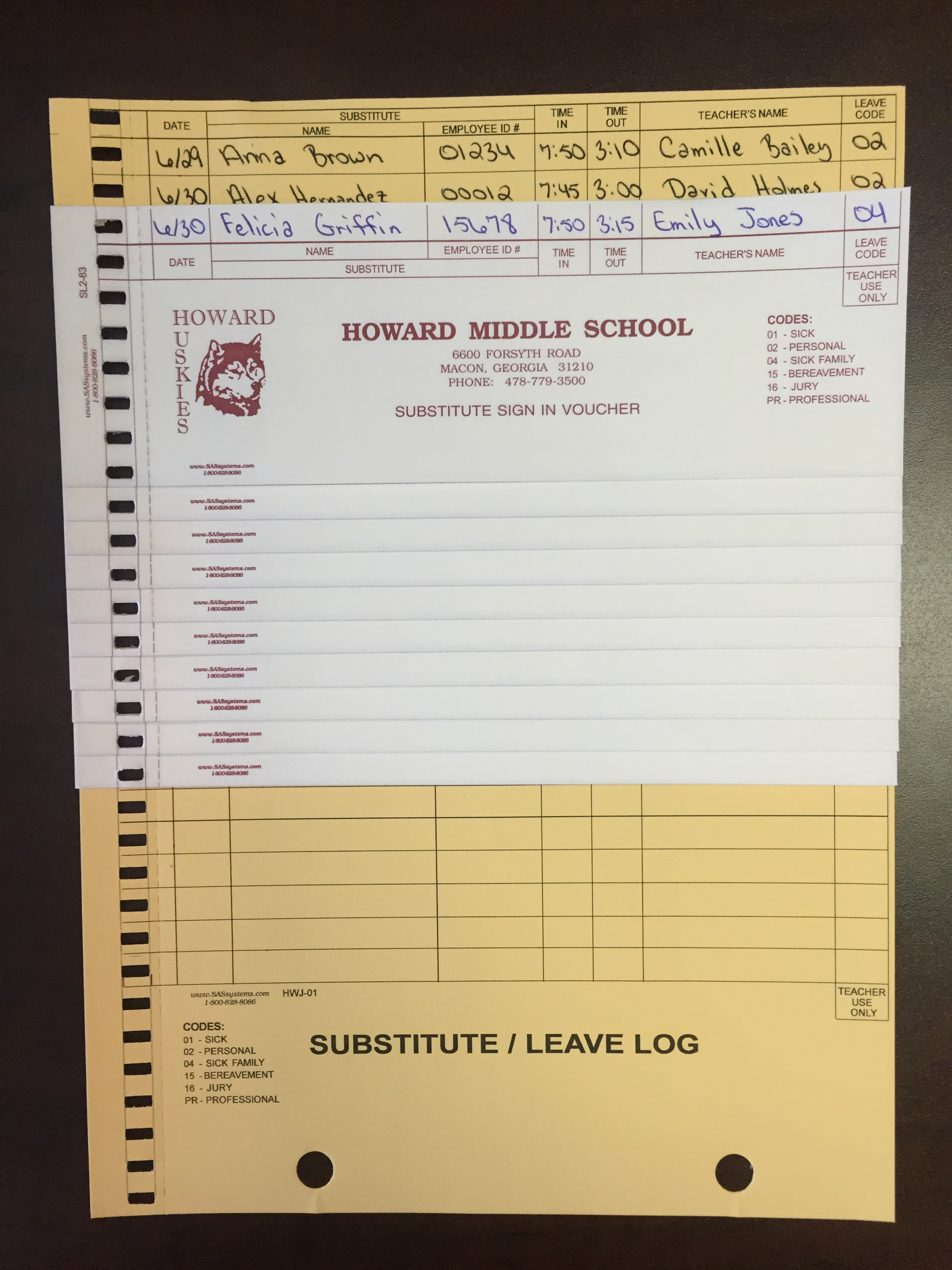 create a record for both Substitute and teacher while also creating a log for school and    central    office data entry