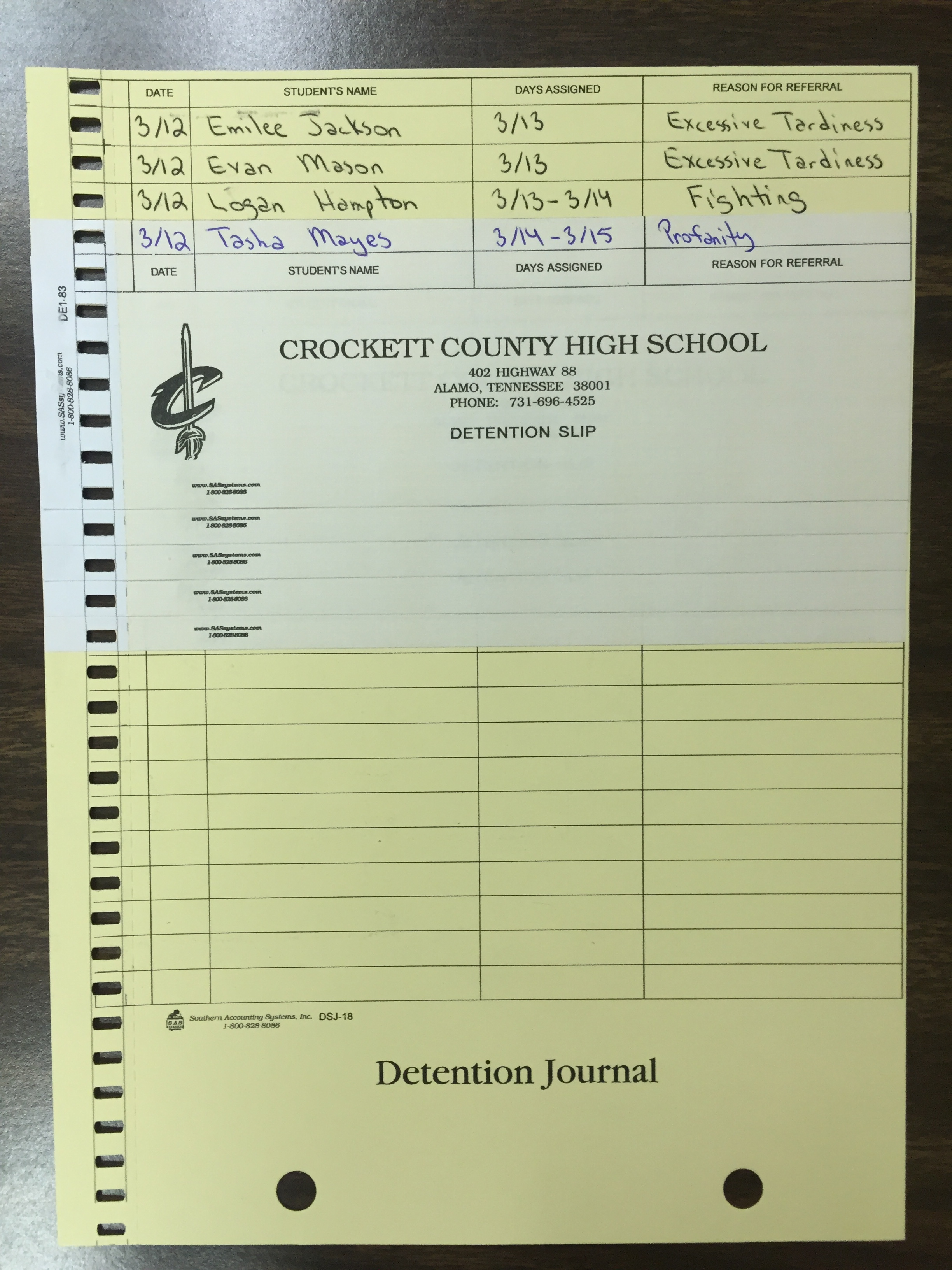 Create a Detention pass while also creating a detention log for teacher/administration.