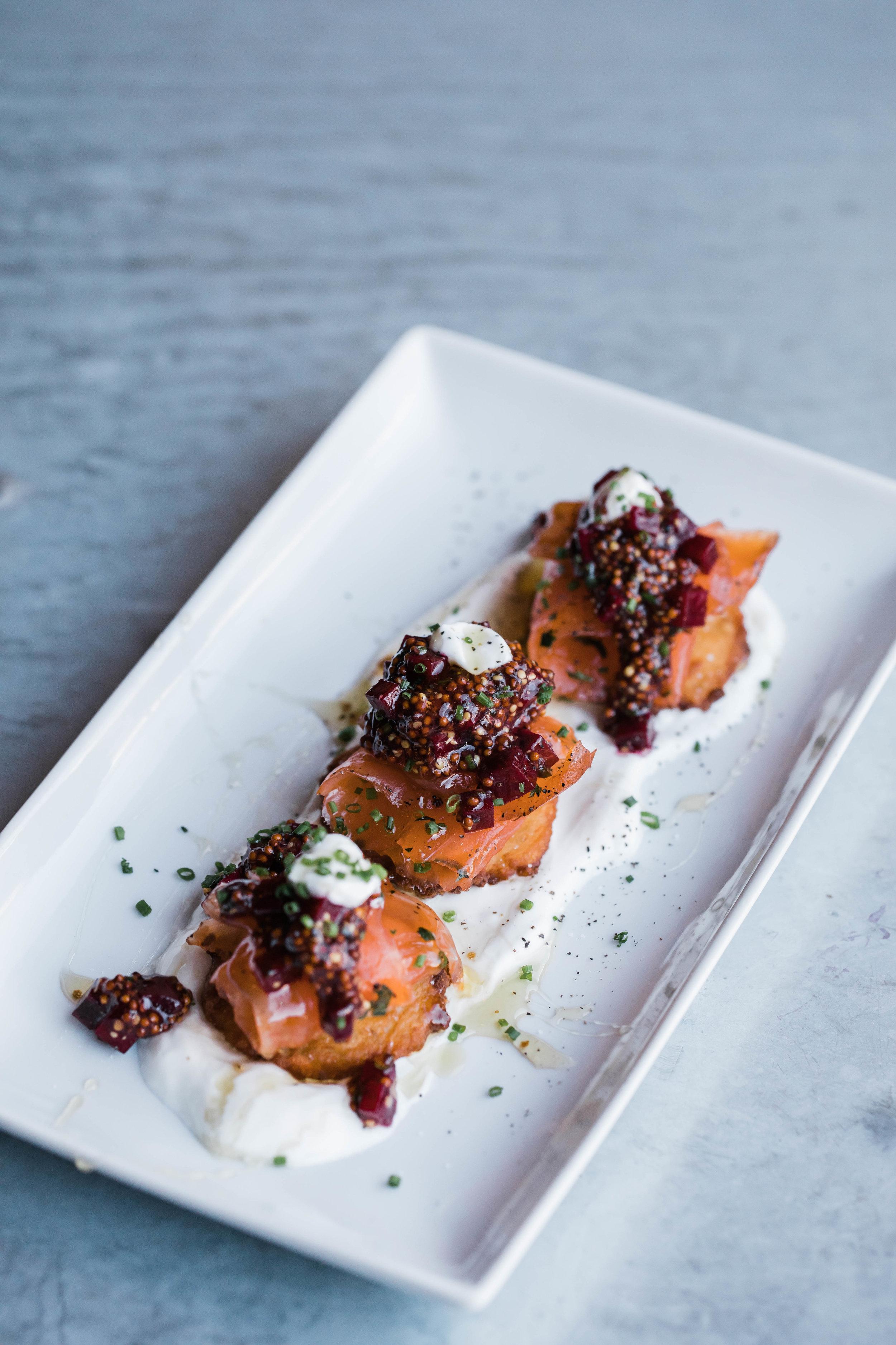 Salmon Gravlax    Potato Cakes/ Pickled Beets + Coarse Mustard/ Fromage Blanc/ Truffle Honey