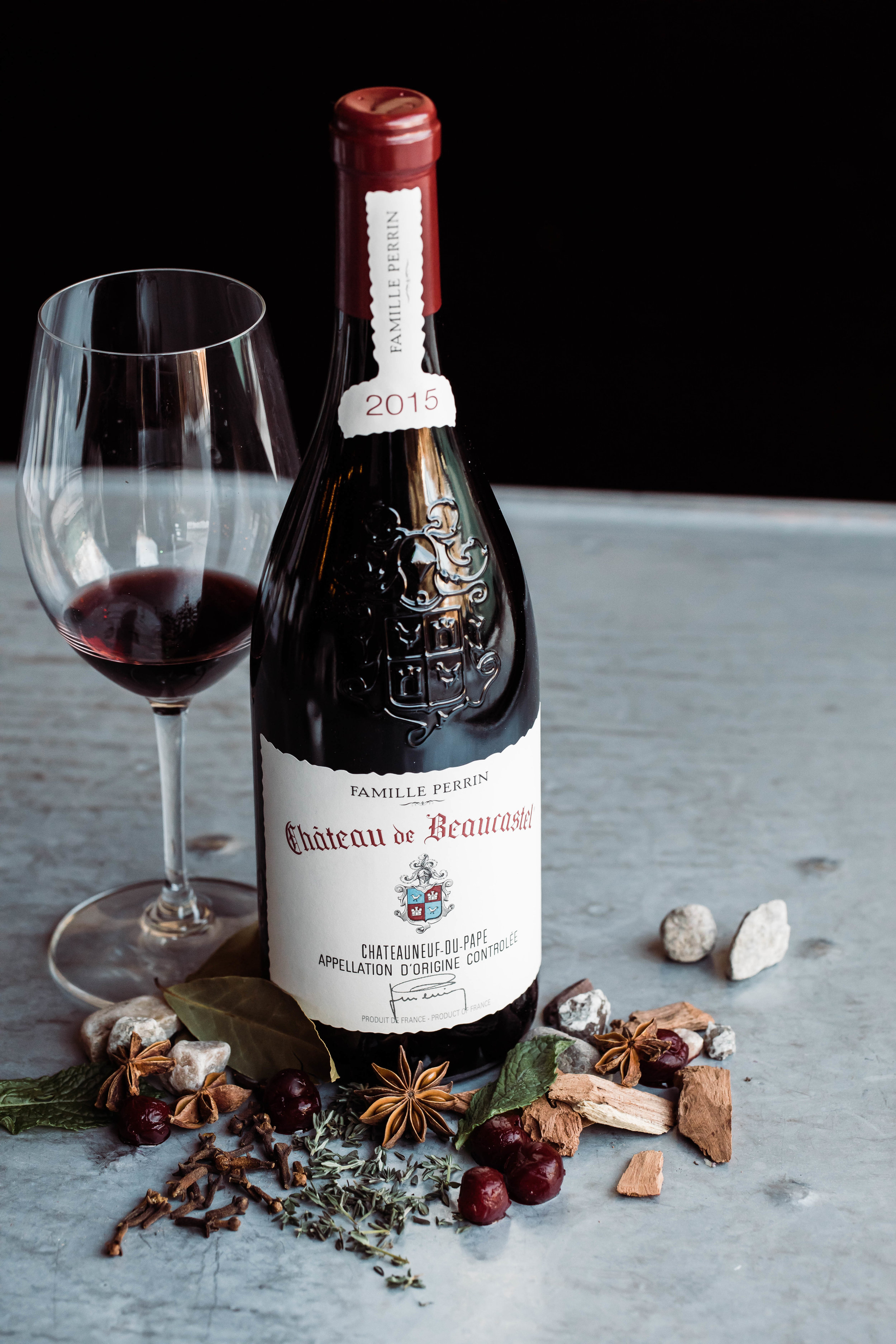 2015 Chateau de Beaucastel Chateauneuf-du-Pape Notes of dark cherries, clove, herbs, star anise, earthy, oak