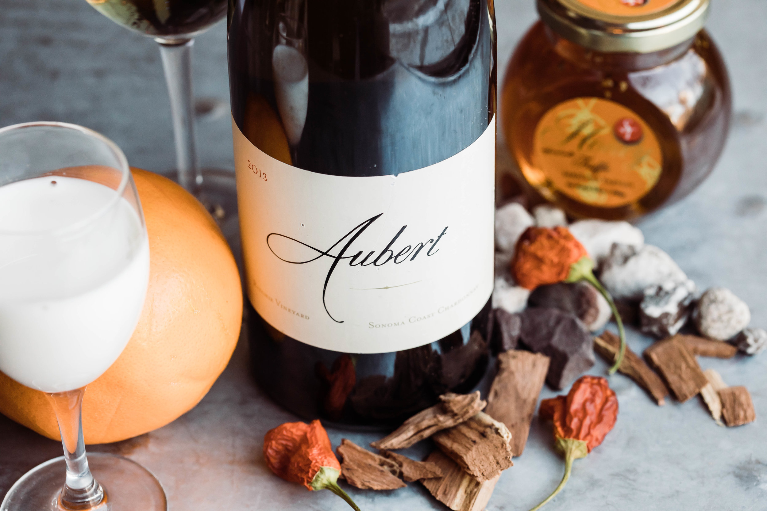 2013 Aubert Chardonnay, Ritchie Vineyard.  Notes of honey, dried flowers, citrus, oak, with a creamy finish.