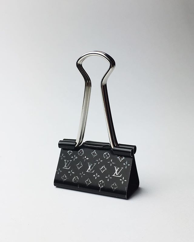 Louis Vuitton binder clip (2018) scratched into the surface using an x-acto knife #objectsatwork #georgesvuitton #binderclip #foldbackclip
