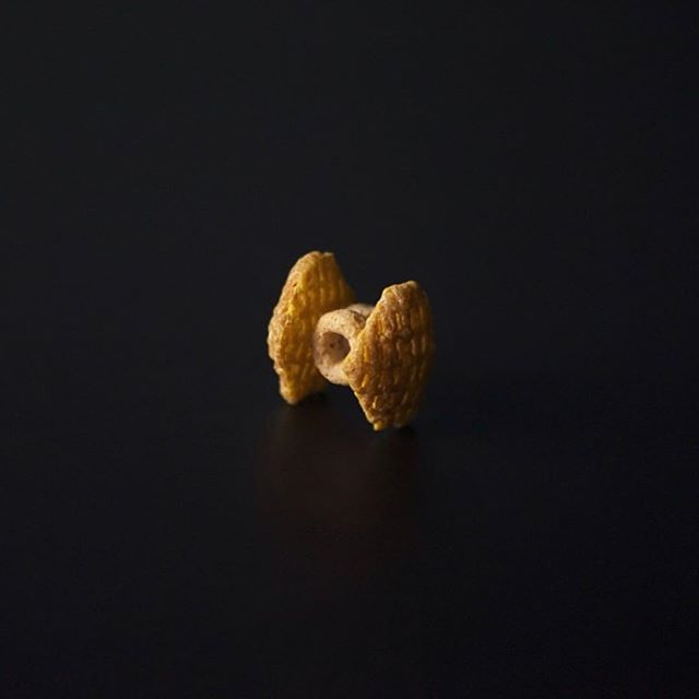 Cereal TIE fighter (2013) - good snack for today. 2 cheerios, 2 crispix, honey or frosting to hold it together. #maythe4thbewithyou #starwars