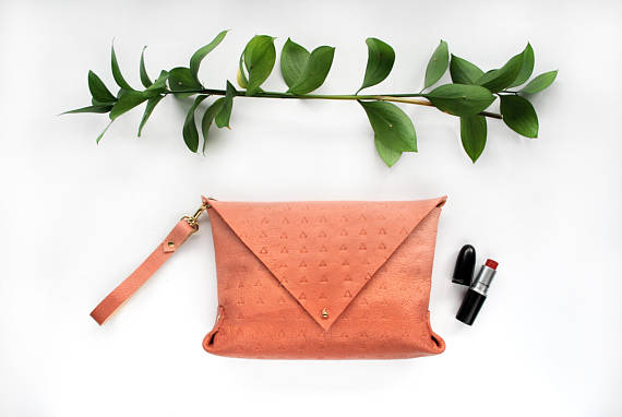 Ombre Peach / Rose Gold Leather Clutch  - Cold Gold • $88