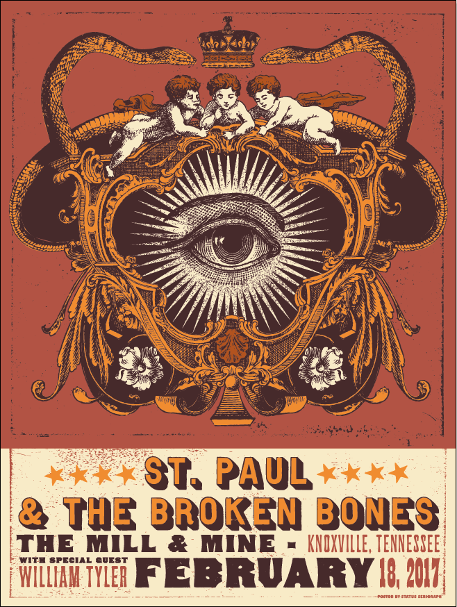 Vintage-Style Screenprinted Concert Poster  - Status Serigraph • $30