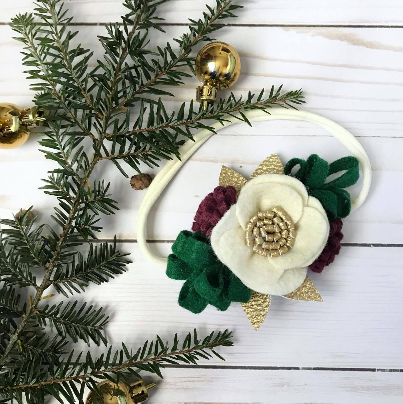 Peek-A-Boo Petals • Holiday Flower Headband • $12
