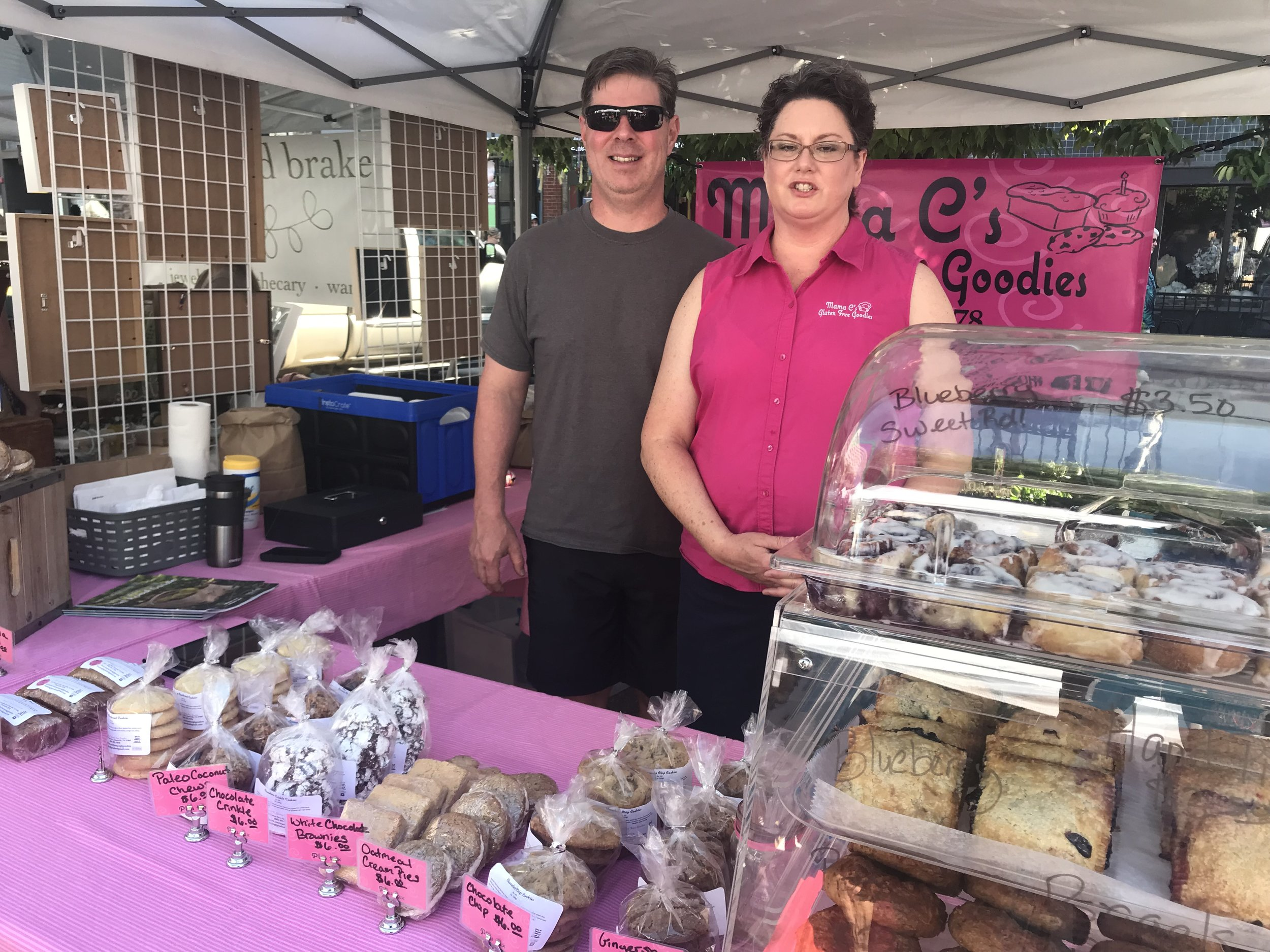 Vinnie and Lynnette Casazza man the Mama C's Gluten Free Goodies booth on Saturday