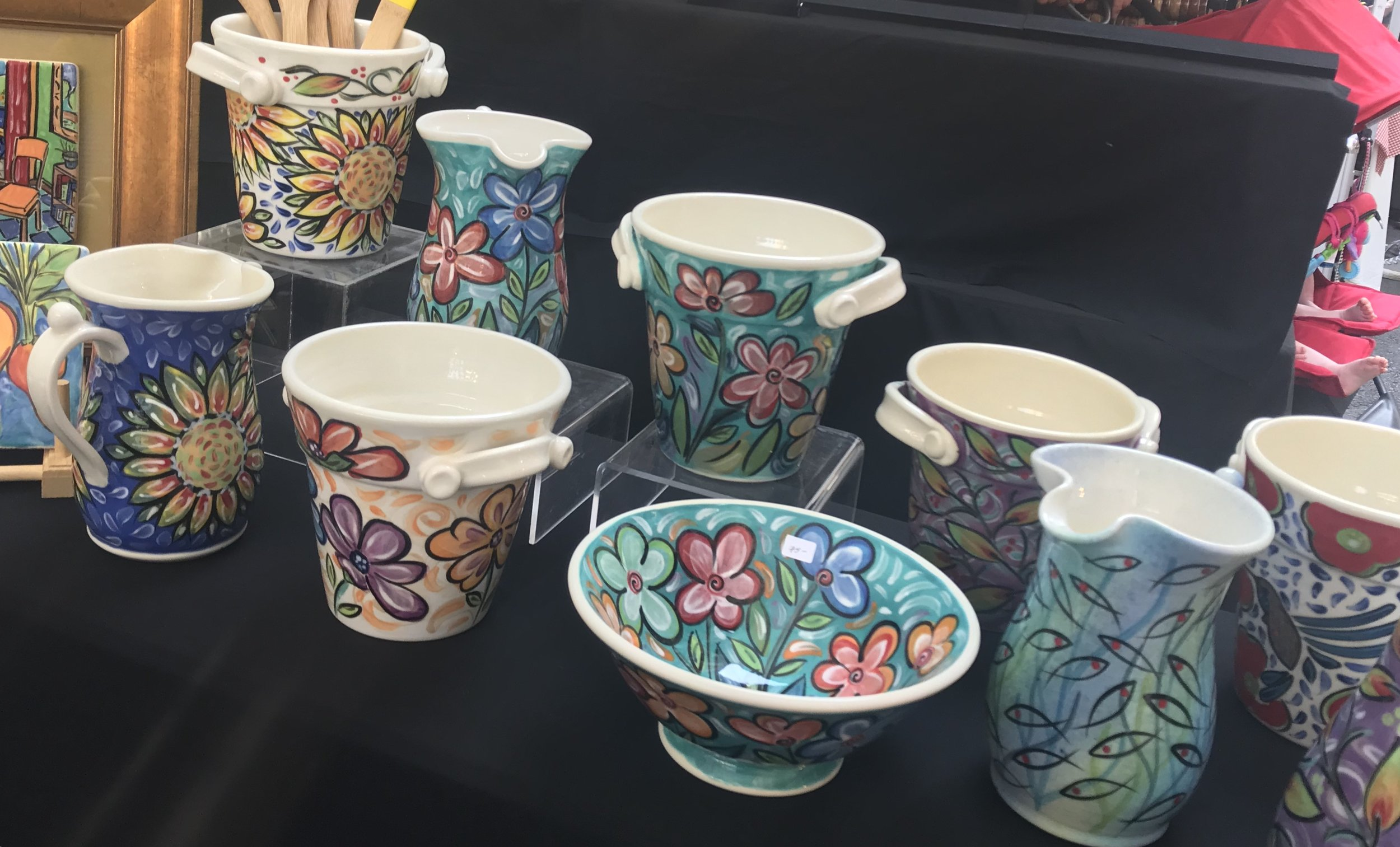 A selection of colorful ceramics from Rikki Taylor of Taylor Pottery