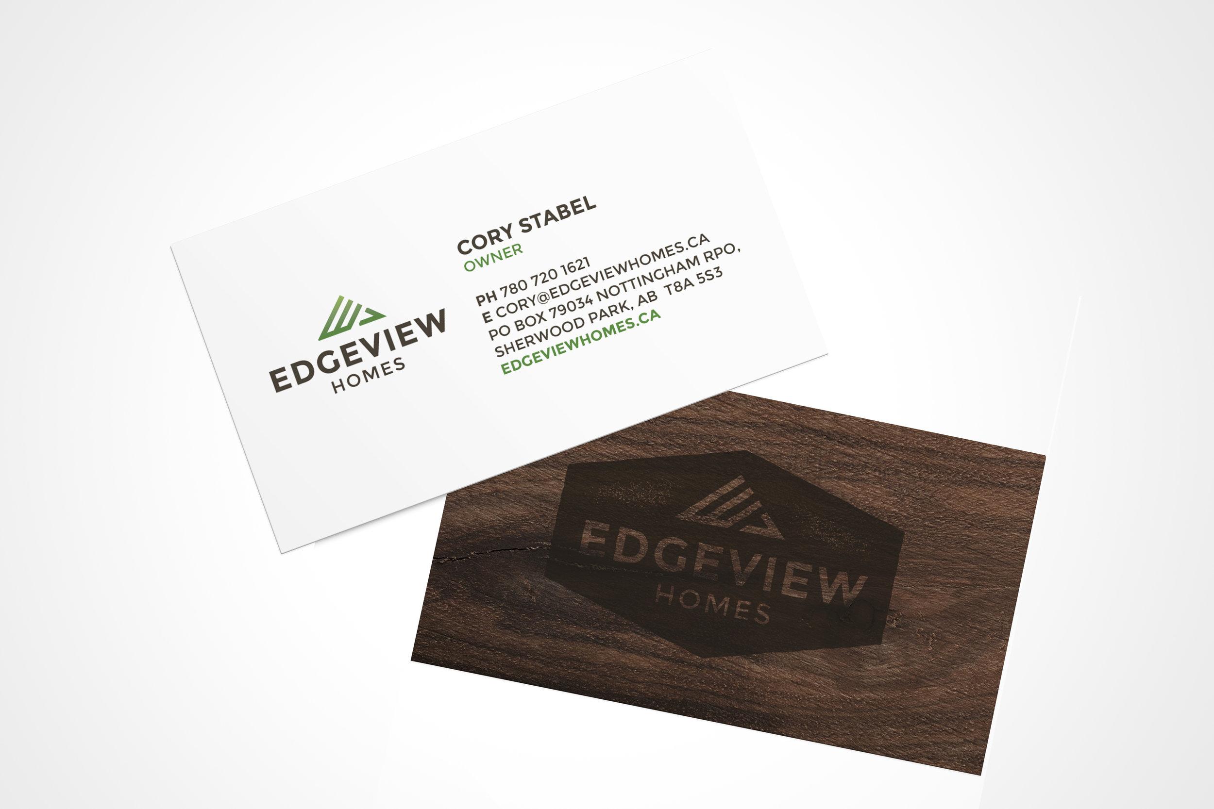 Natasia Designs Edmonton Alberta Freelance Logo Designer - Edgeview Homes Logo Design, Branding and Business Card Design