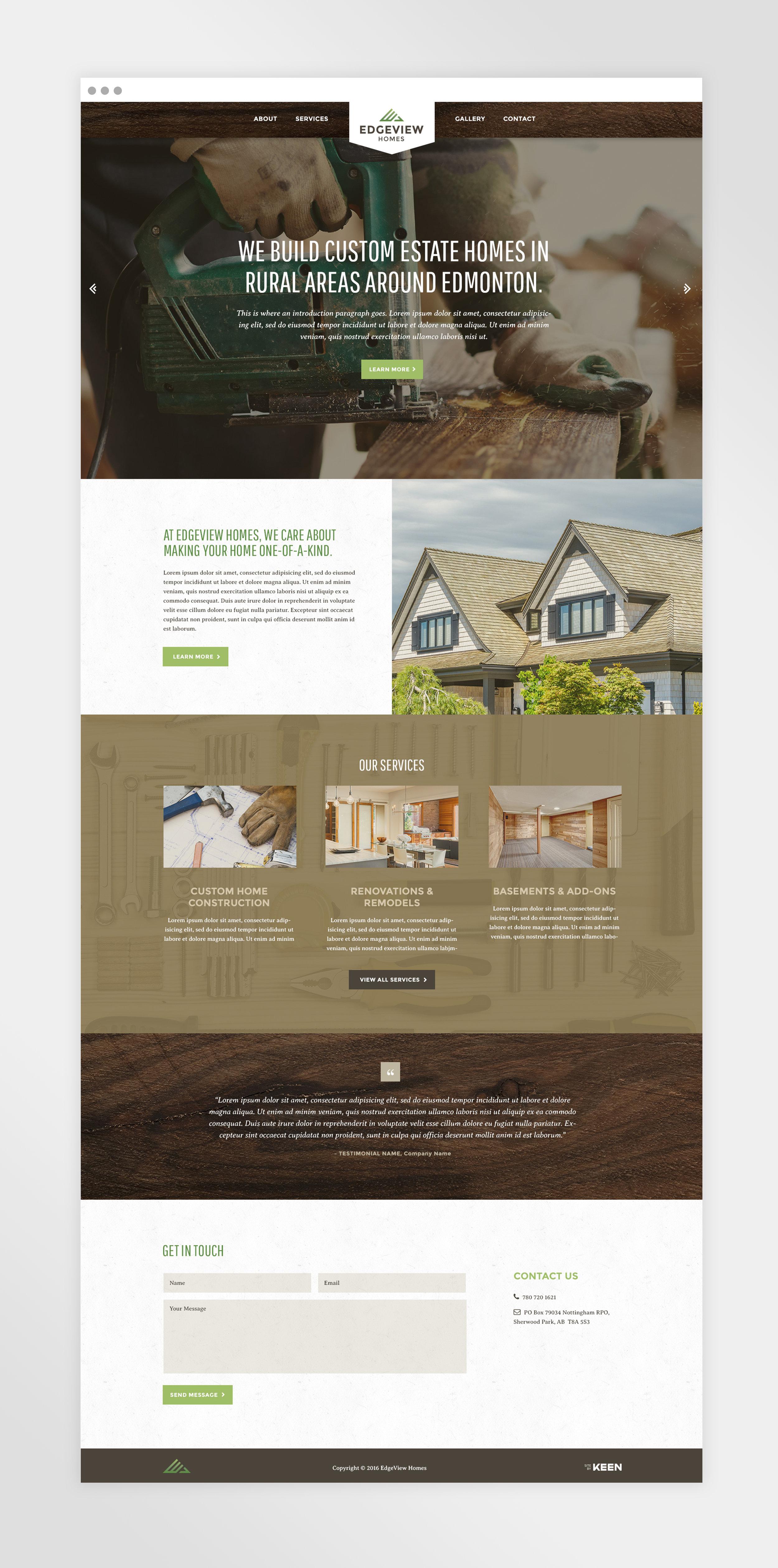 Natasia Designs Edmonton Freelance Graphic and Website Designer Edgeview Homes Web Design and Development