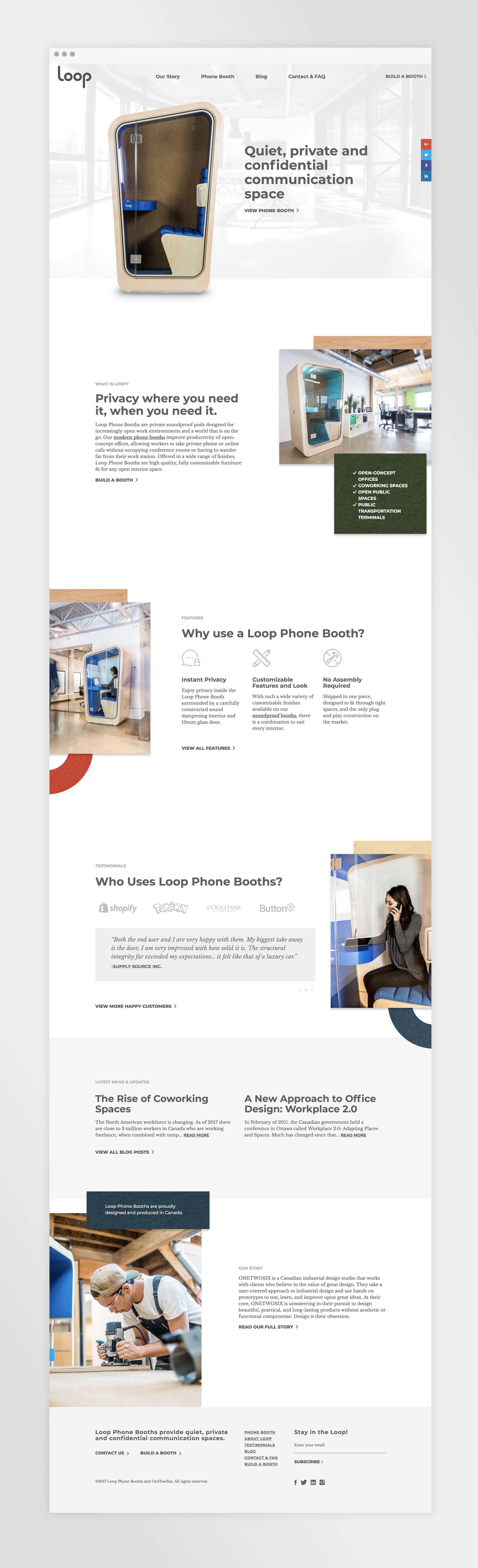 Natasia Designs Edmonton Graphic Design and Website Designer and Developer Branding development Loop Phone Booths Custom Online Order User Experience Responsive web