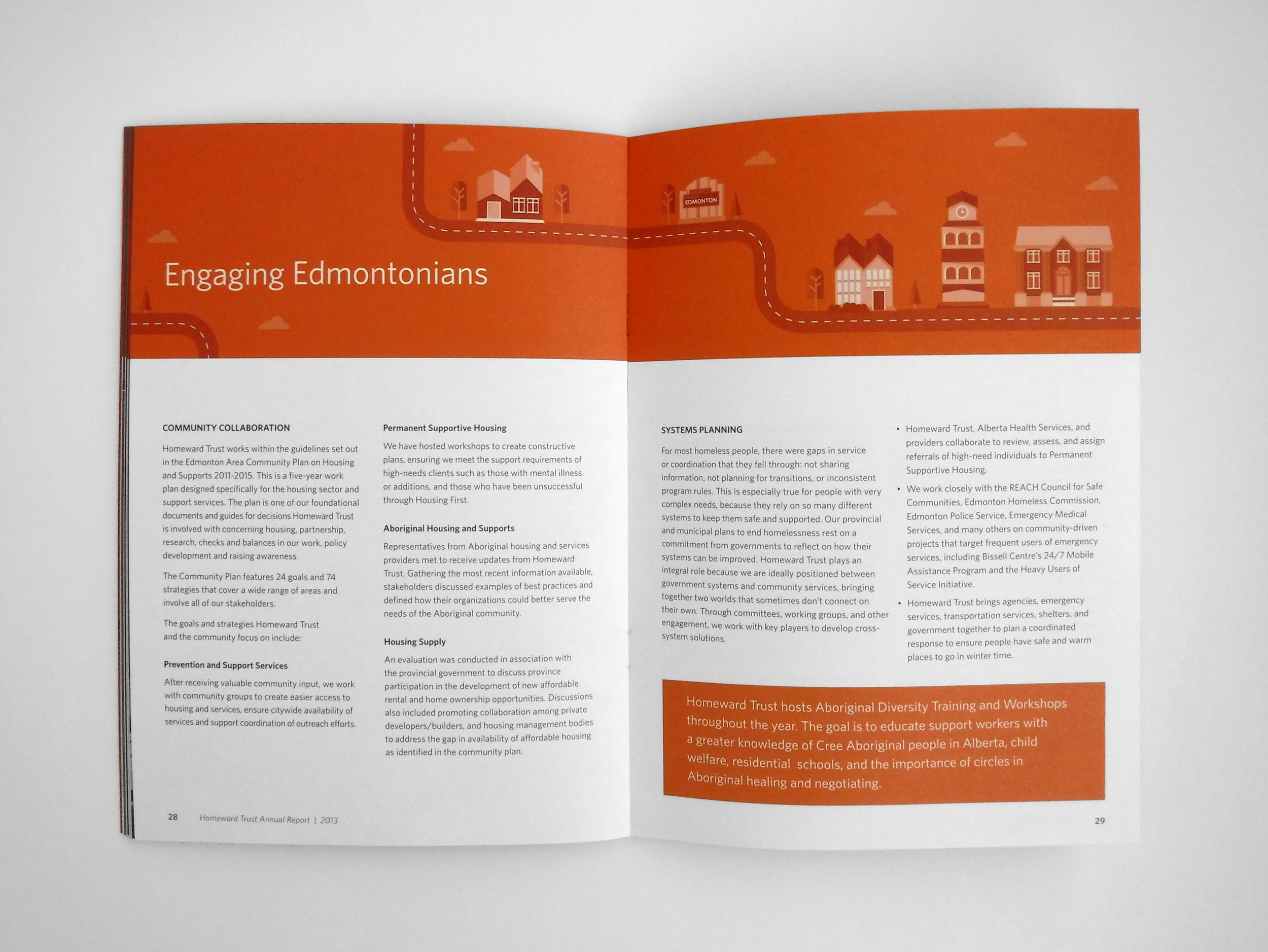 Natasia Designs Edmonton Alberta Graphic Designer Annual Report Design Homeward Trust Homelessness Infographic Illustration