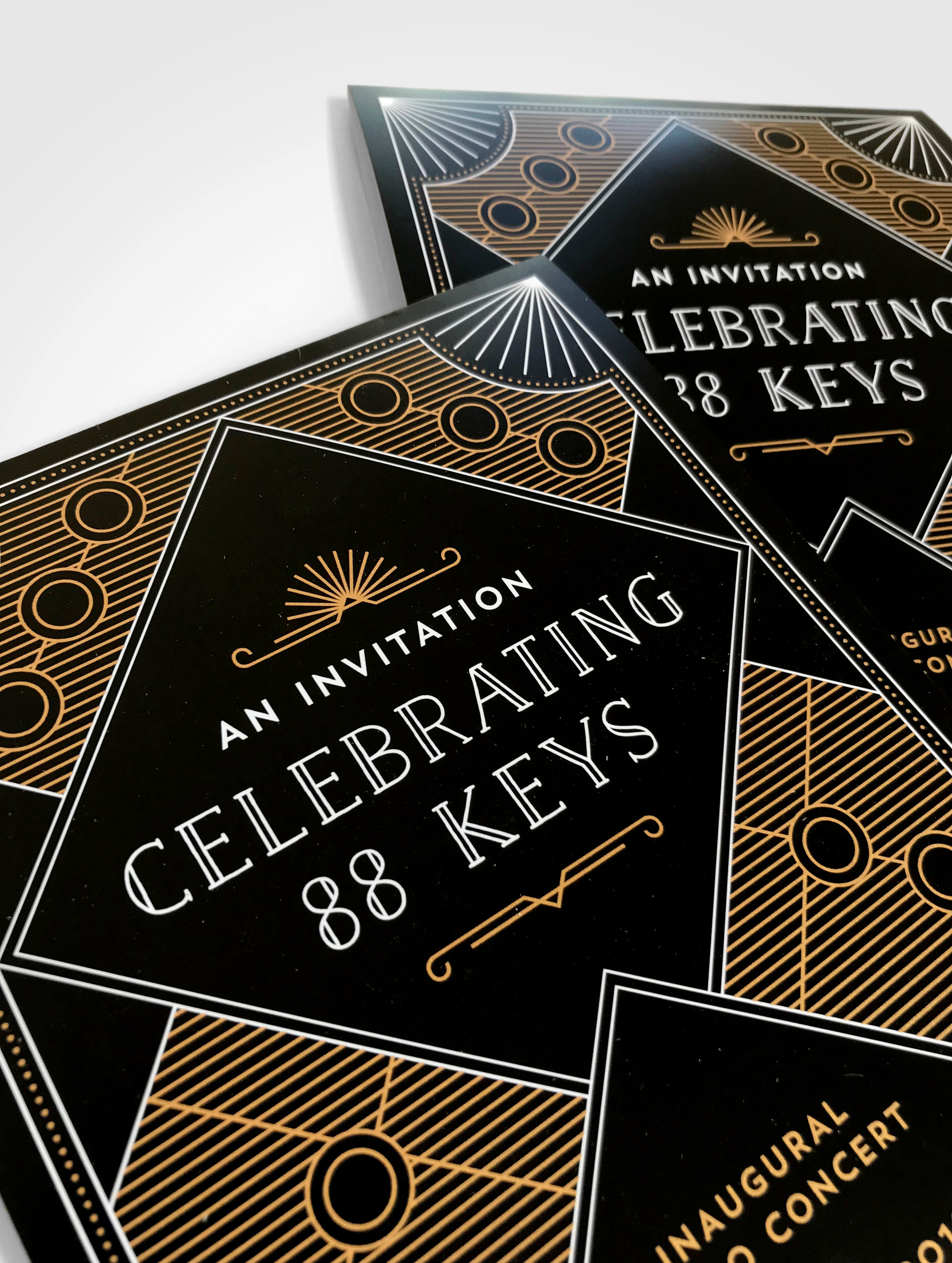 Natasia Designs Edmonton Graphic Designer Event Invitation Design and Promotion University of Alberta Faculty of Arts Celebrating 88 Keys Piano Invite Design and Save the Date Print Gold Ink
