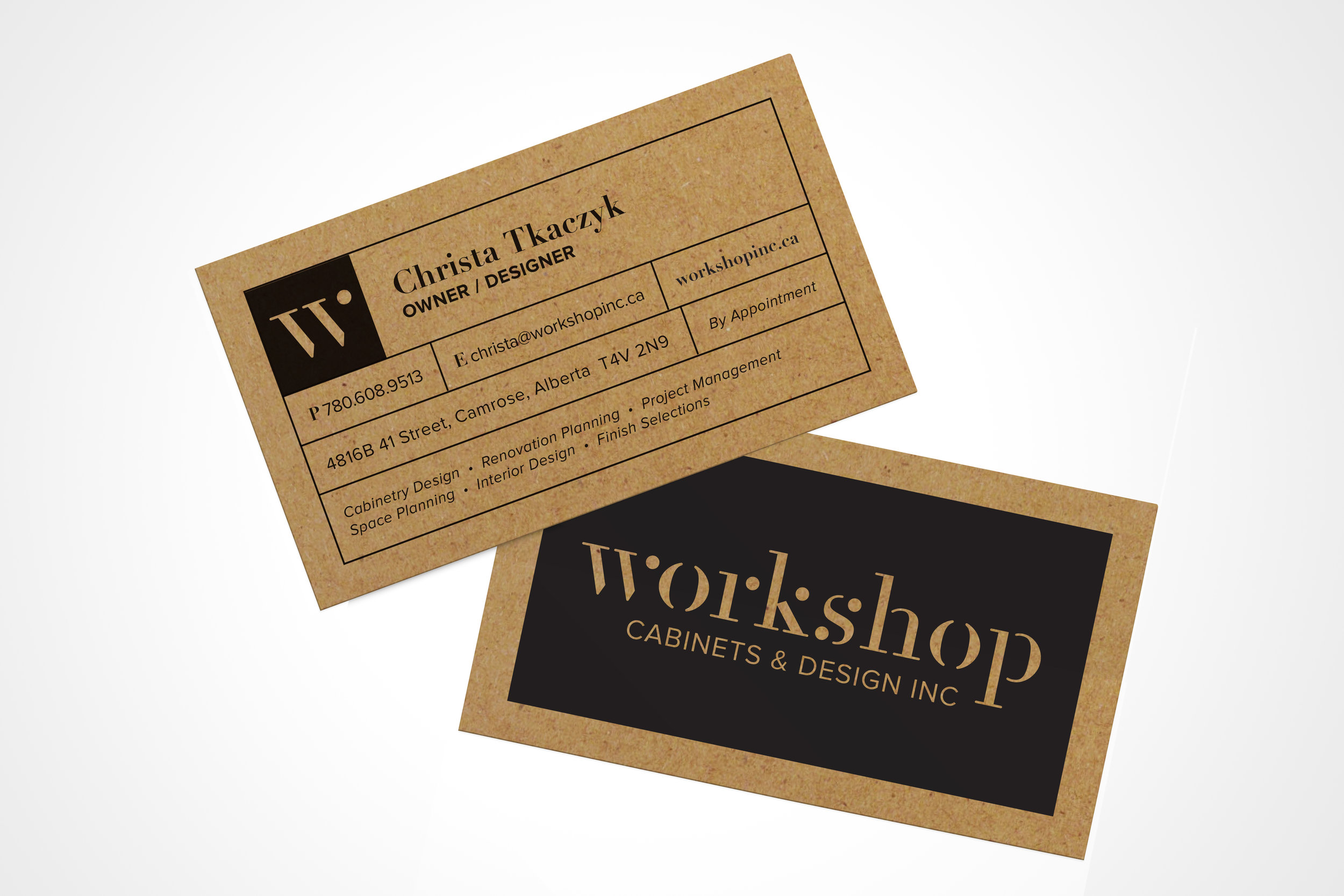Natasia Designs Edmonton Graphic Designer Logo Design Branding Business Card Design Brand Workshop Cabinets and Design Camrose Alberta