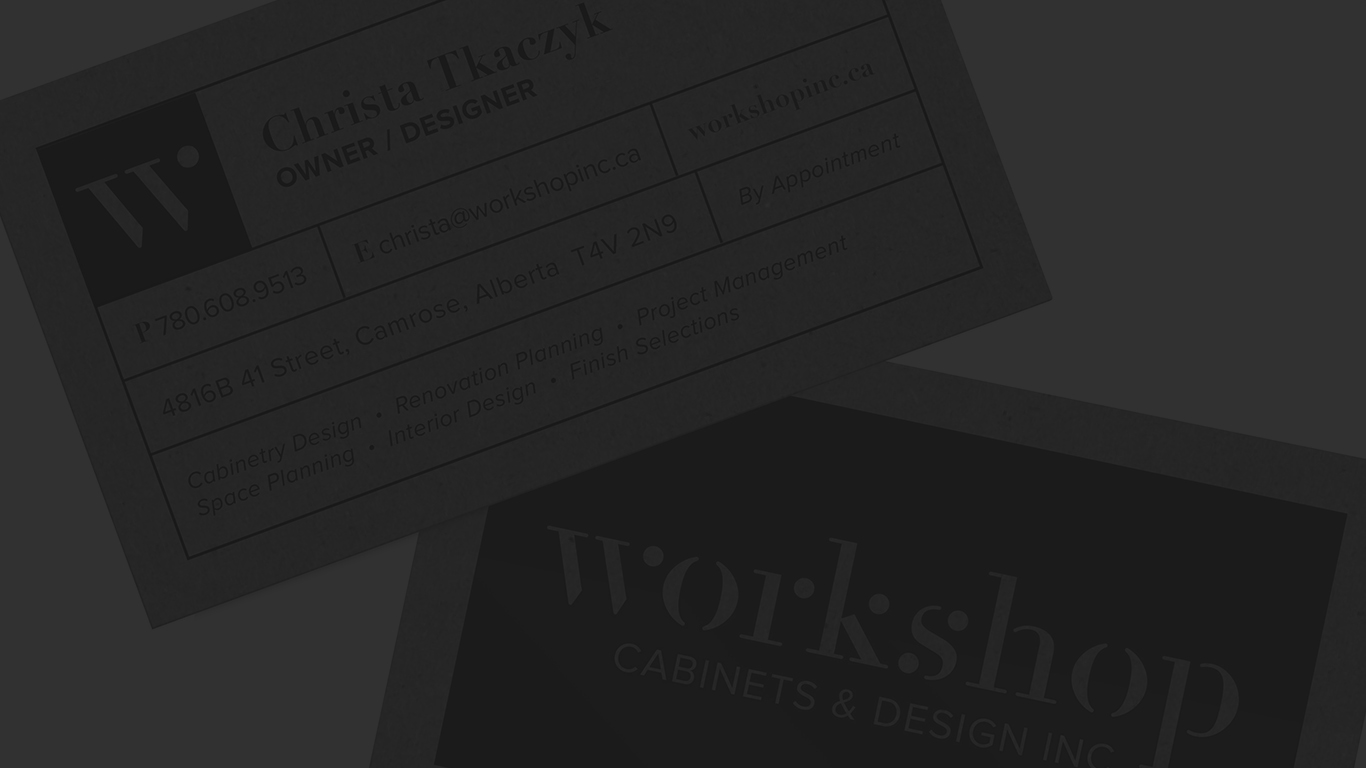 Workshop Cabinets Logo Design, Branding and Website Design - A complete branding package for a cabinet design studio that balances luxury and friendliness.