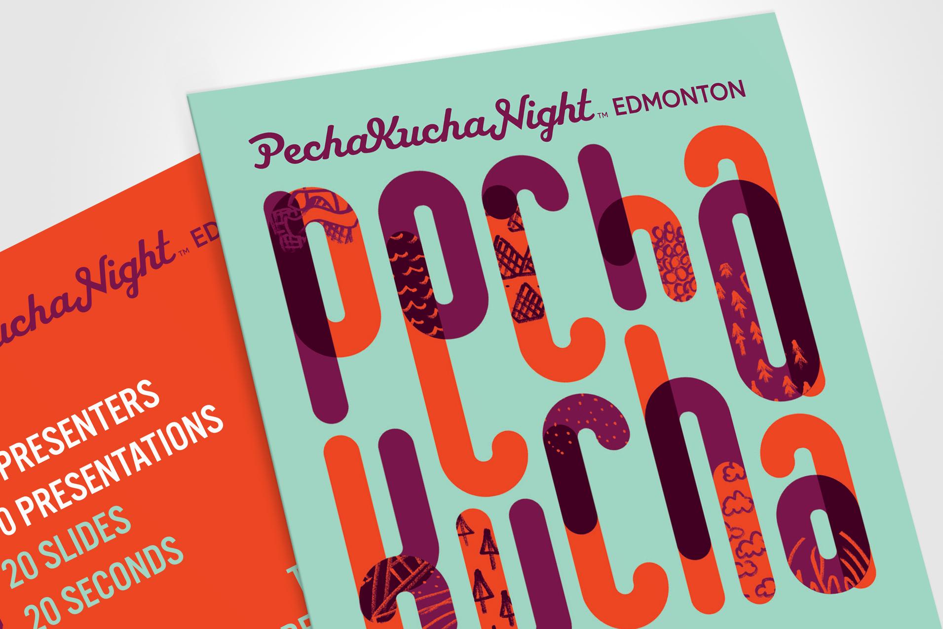 Natasia Designs Edmonton Graphic Design Event Promotion Materials Design Invitation Presentation Design Pecha Kucha Night 32 City of Edmonton Edmonton's Nextgen Designer Abstract Typography Illustration Lettering