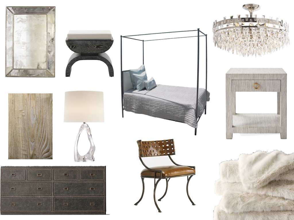mirror//  SHOP CANDELABRA  stool / /   JAYSON HOME   bed //   OLY STUDIO   bedside table //  SERENA & LILY  chandelier //  CIRCA LIGHTING    wallpaper //  WEBSTER & CO    lamp //  CIRCA LIGHTING  dresser //     RESTORATION HARDWARE     chair //  ZINC DOOR  fur bed blanket //  RESTORATION HARDWARE