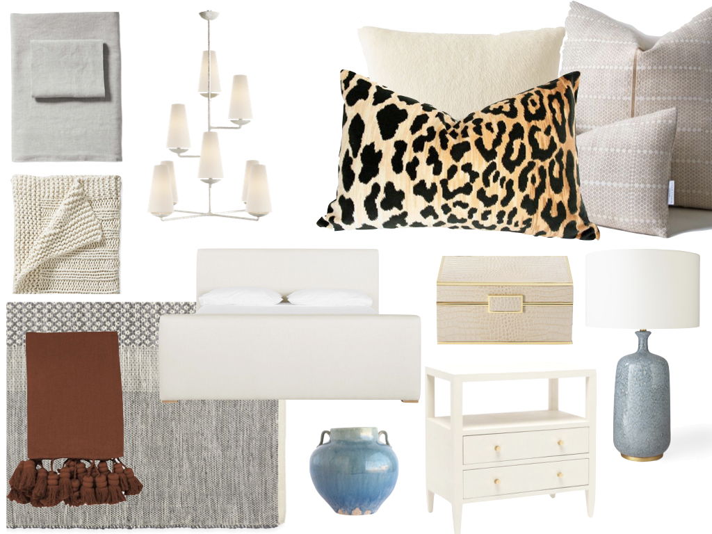 Sheets//Serena & Lily Throw// Serena & Lily  Throw//. Rug// Serena & Lily  Chandeliwe// Circa Lighting  Bed//McGee & Co Cream Pillow// Restoration Hardware  Tan Pillow//Susan Conner. Leopard Pillow// Etsy  Box// Bergdorf Goodman  Urn// McGee & Co  Bedside Table// McGee & Co  Lamp/ /Serena & Lily
