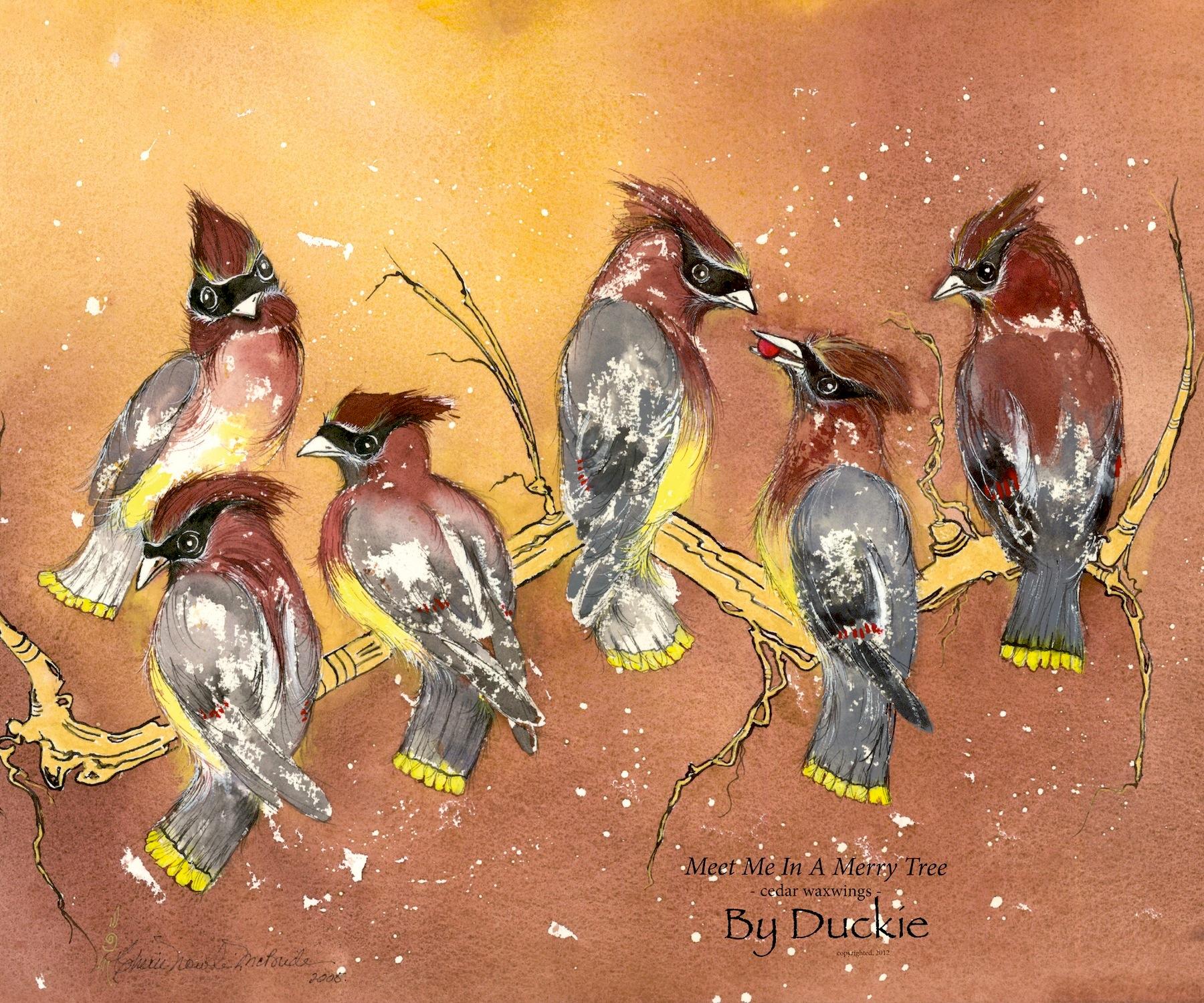 Meet me in a Merry Tree cedar waxwings Tapestry Throw emailable.jpg