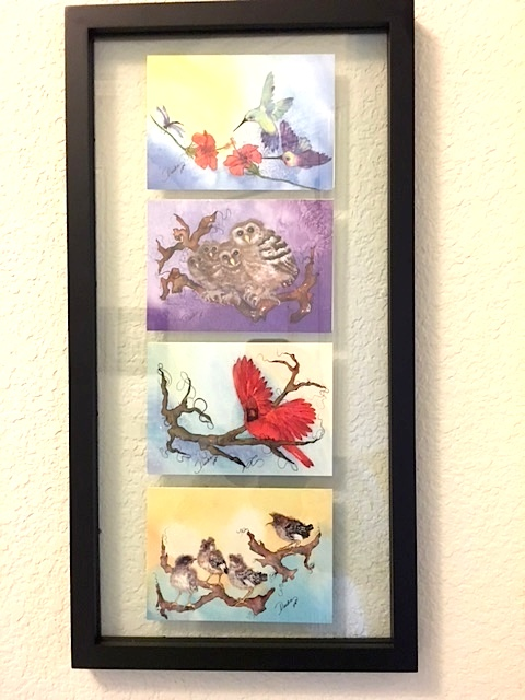 Four note cards framed by a customer!