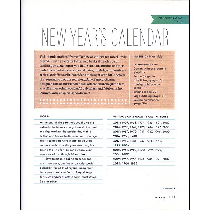 New Year's Calendar Instructions