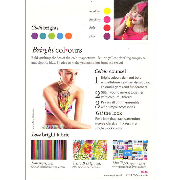 Cloth Magazine Color Card Insert