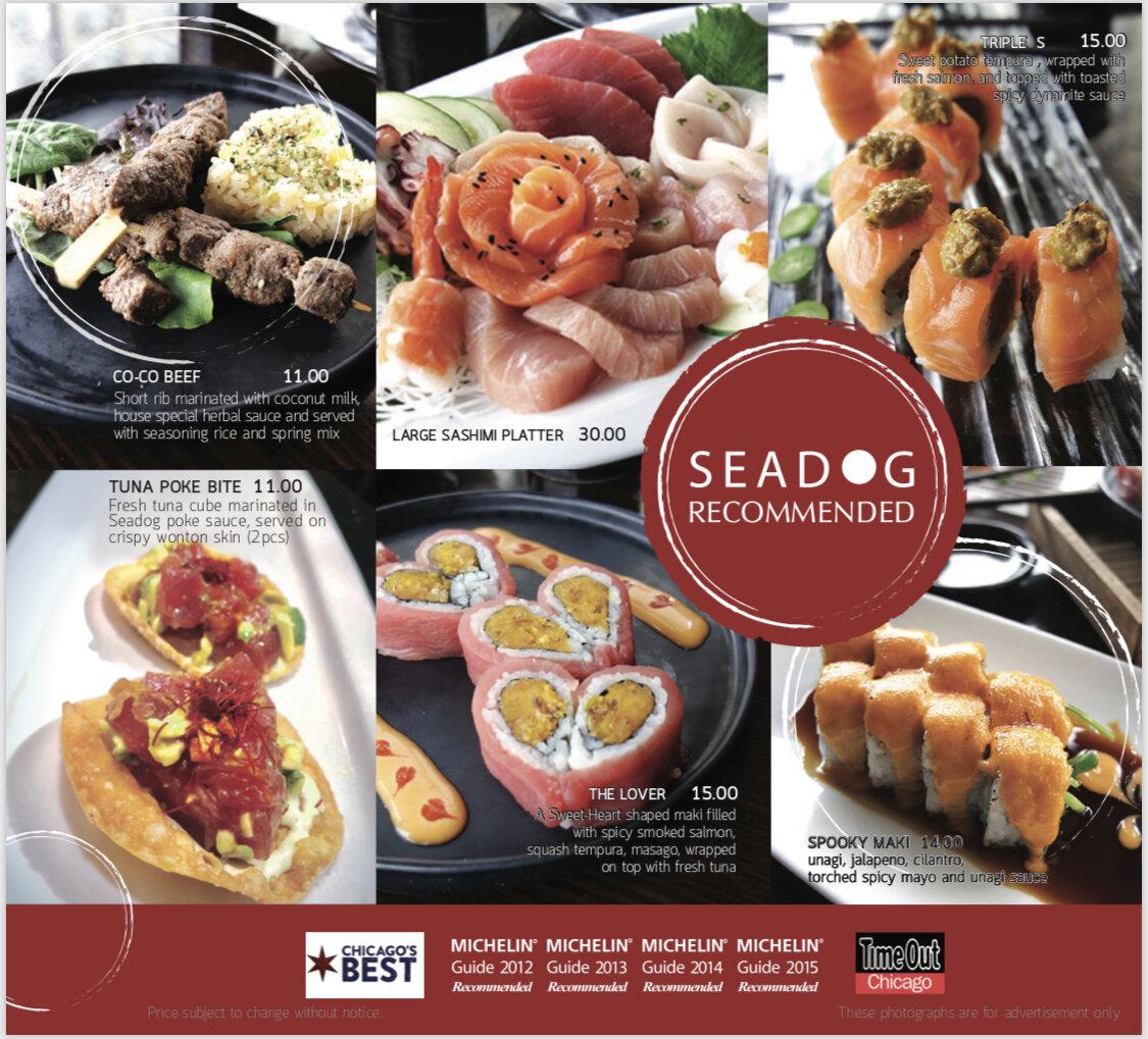 seadog recommended menu