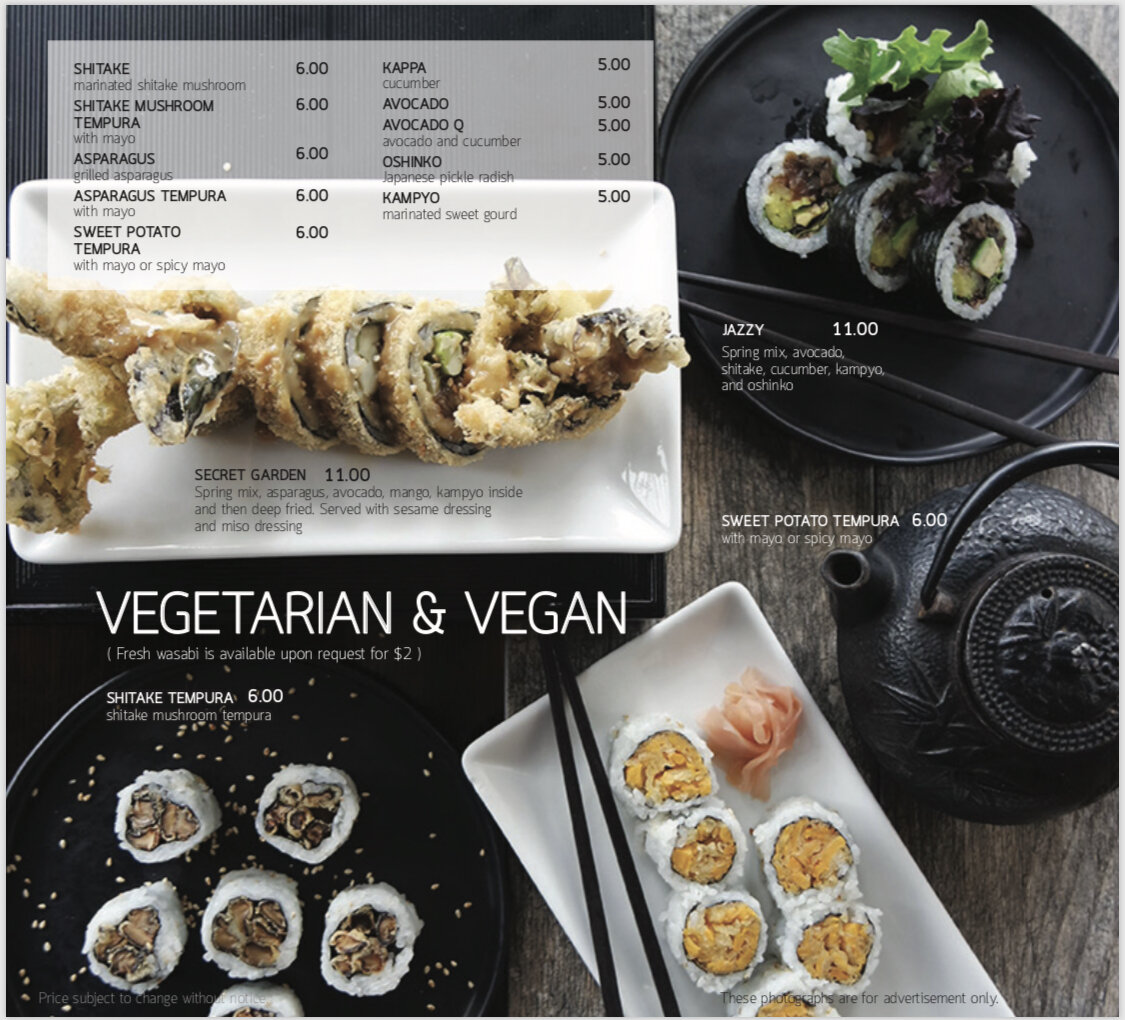 Seadog vegetarain & vegan menu 1