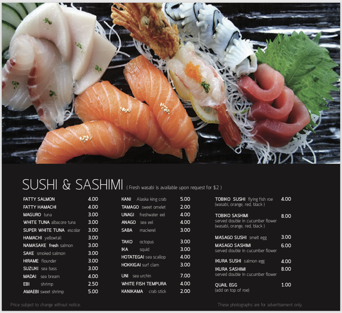 Seadog sushi & sashimi menu