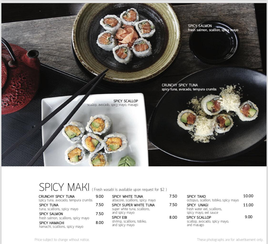 Seadog spicy maki menu